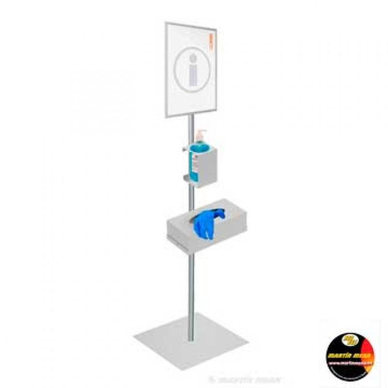 Suport dispensador de gel hidroalcohòlic, guants i senyalització per a la COVID-19