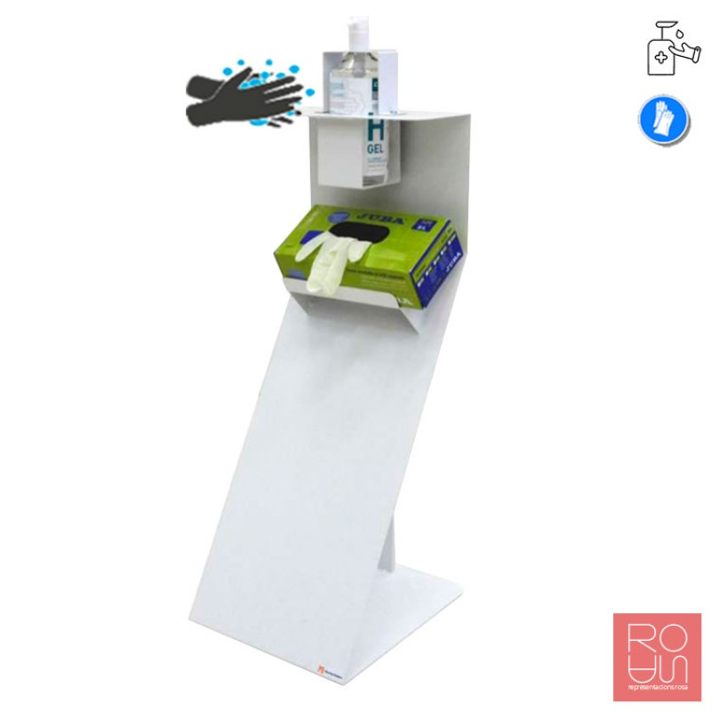 Dispensador de peu per gel desinfectant i guants