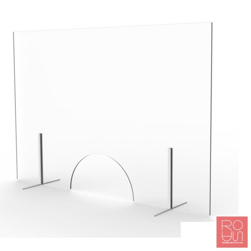 Mampara mostrador de vidre amb finestreta i peus de metall