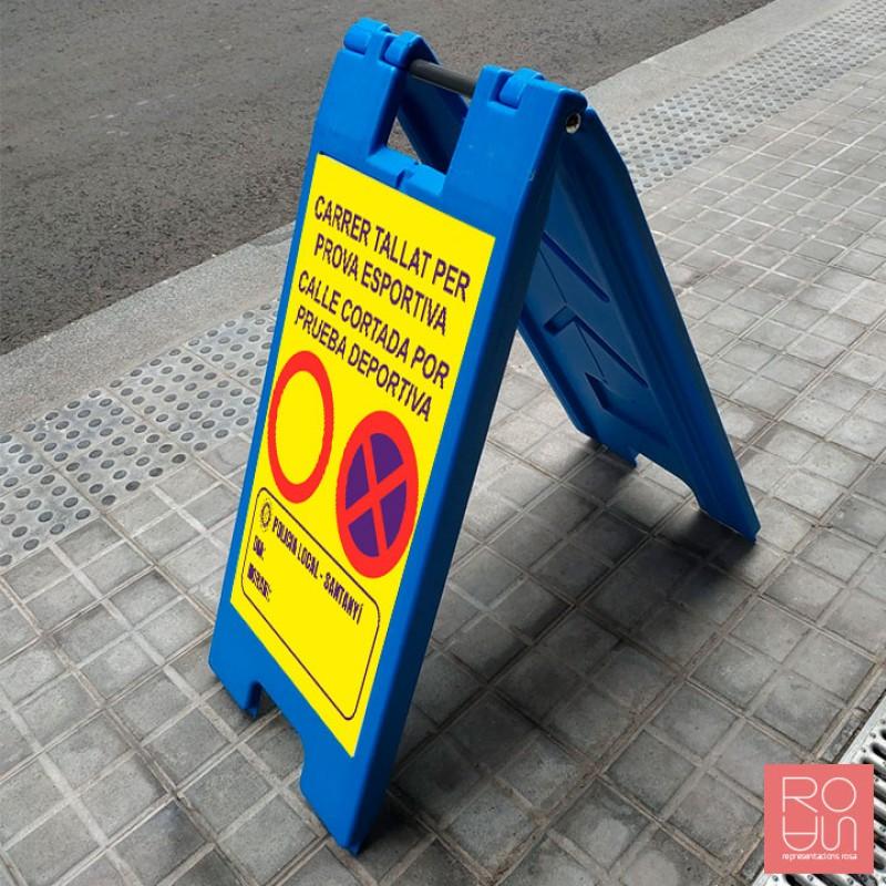 Trípode de senyalització accés a edificis Covid-19