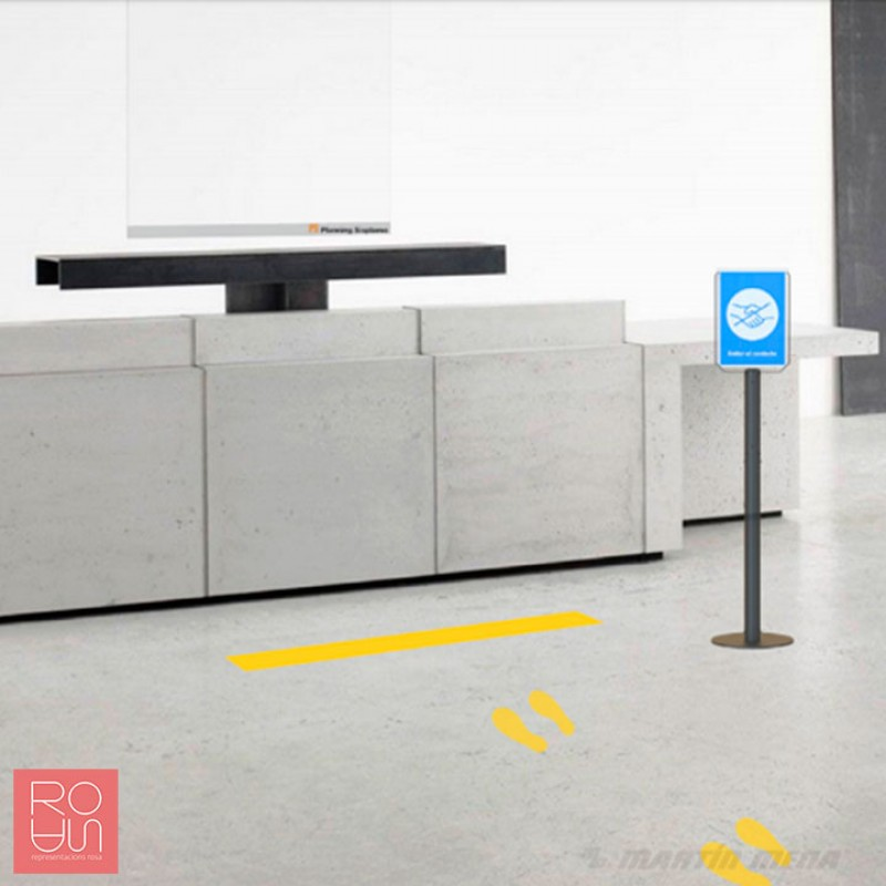 Vinils color groc de distancia de seguretat per al terra d'accessos per a la COVID-19